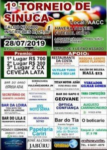 Machadinho: Dia 28/07 será realizado o 1° Torneio de sinuca no clube da AACC, venha participar!