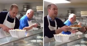 Príncipe William segue os passos da mãe ao servir comida para pessoas sem-abrigo
